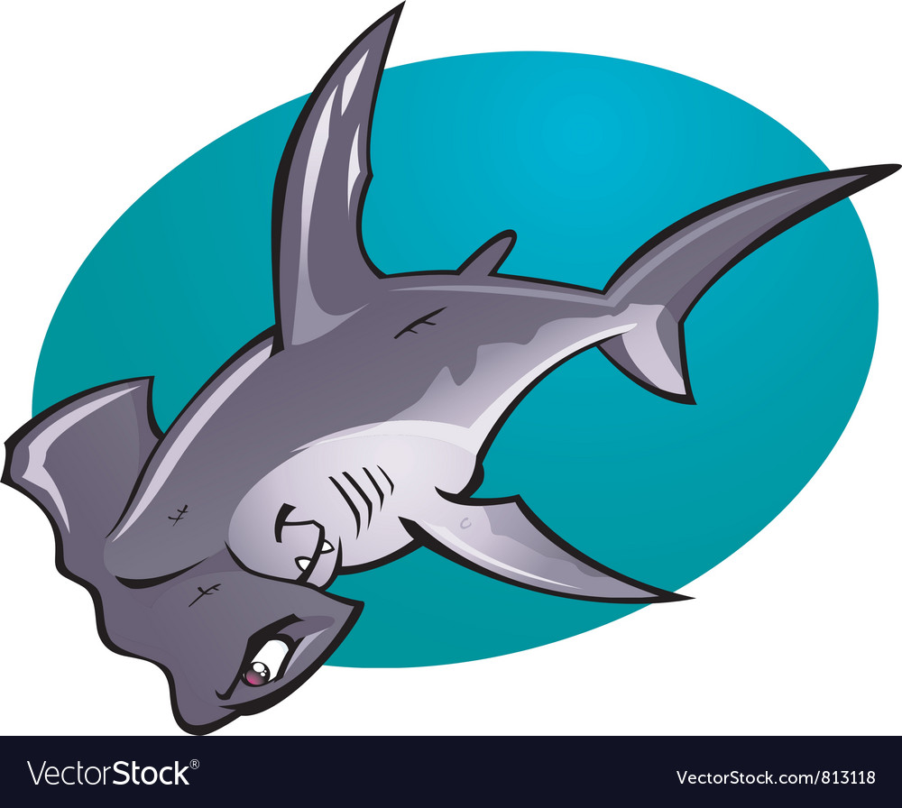 cartoon hammerhead shark royalty free vector image rh vectorstock com cartoon hammerhead shark pics cartoon hammerhead shark images
