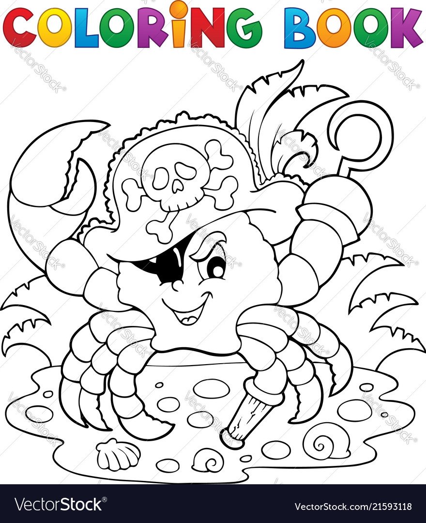 coloring book with pirate crab royalty free vector image