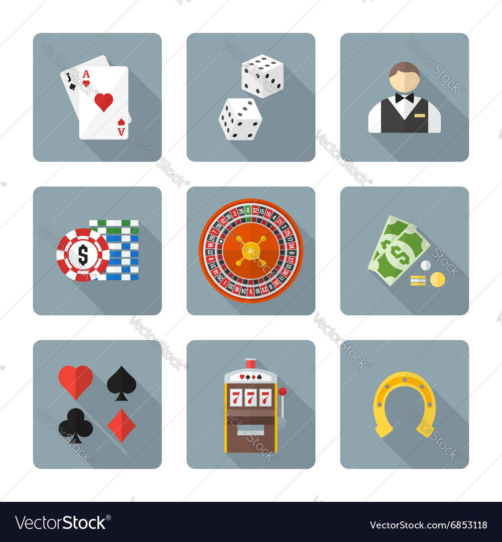 Flat style colored various gambling icons