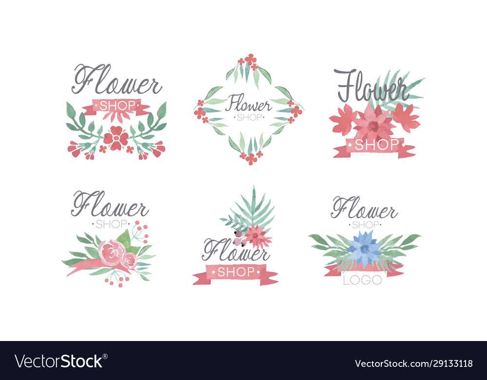 Flower shop logo templates set florist badges