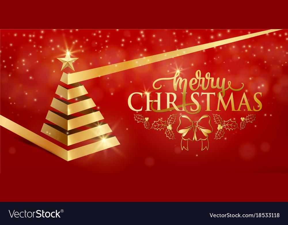 Merry christmas fancy luxury gold ribbon xmas tree