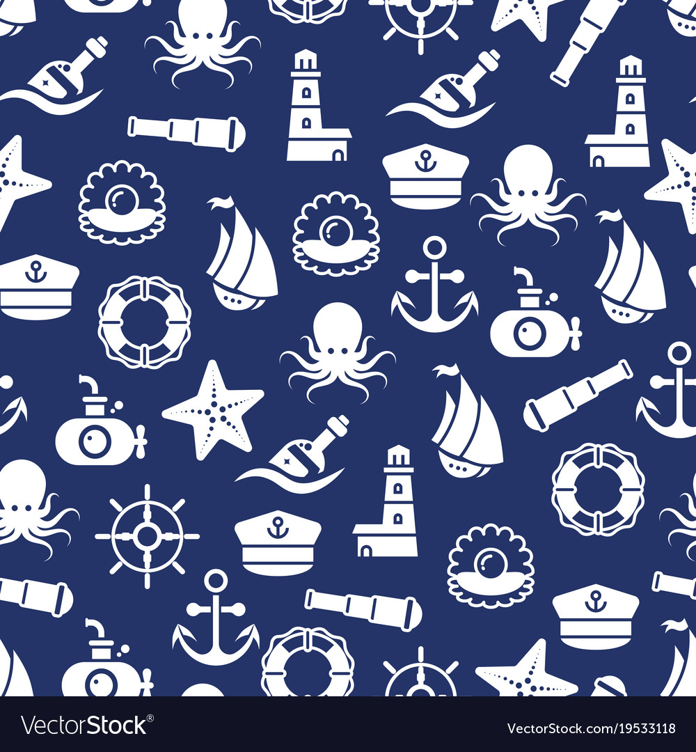 Ocean or sea seamless pattern with anchor boat