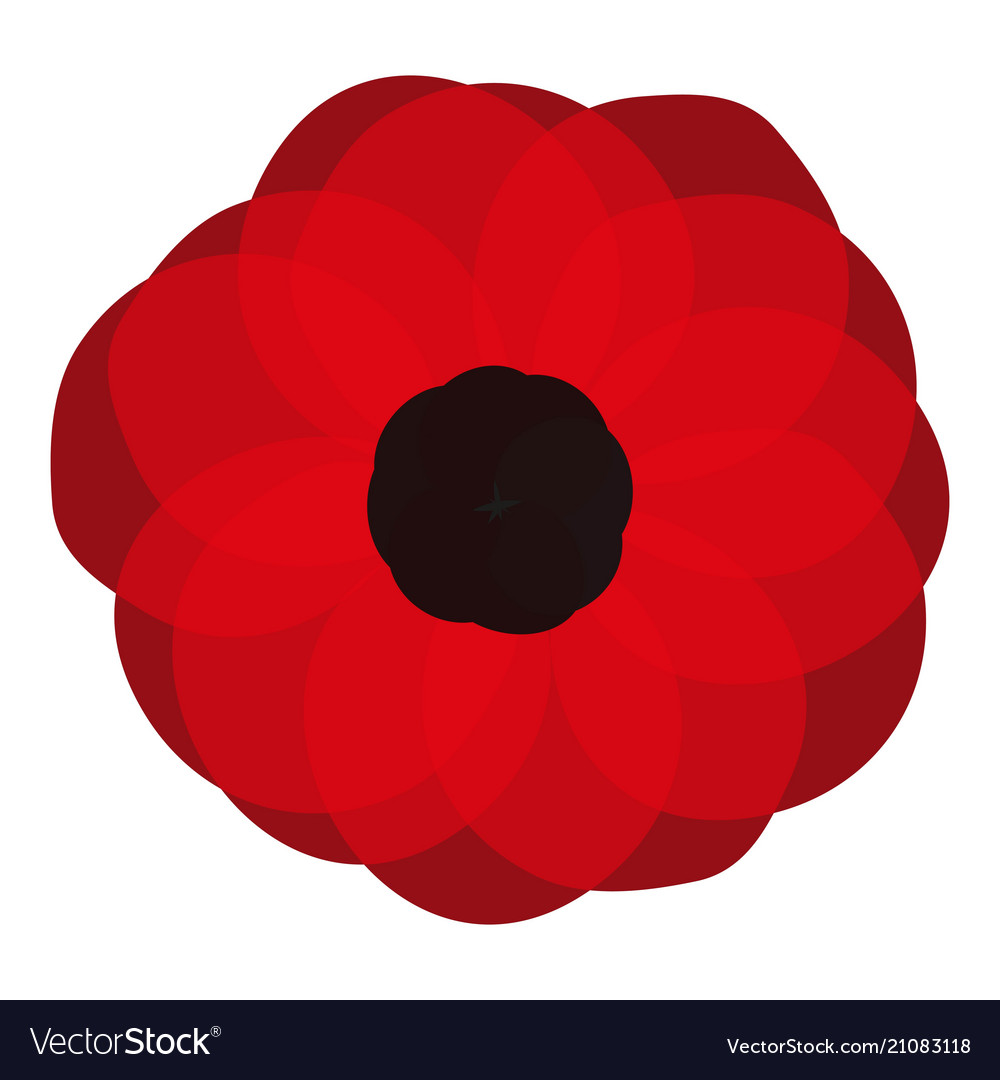 Red Poppy Flower Poppy Pin Icon Royalty Free Vector Image