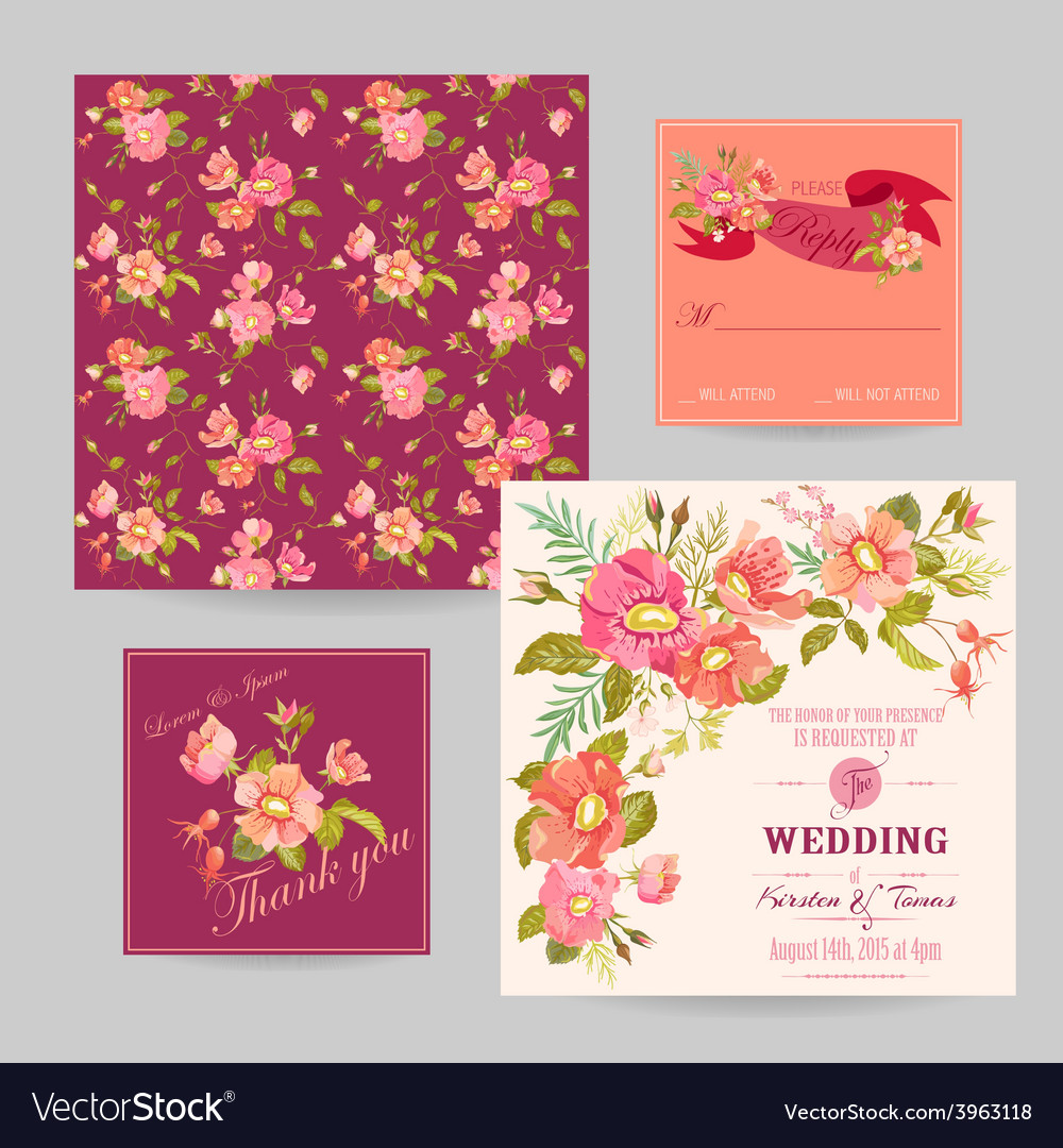 Set of Wedding Floral Invitation Cards