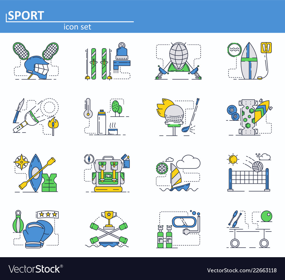 Set sport icons in thin line style