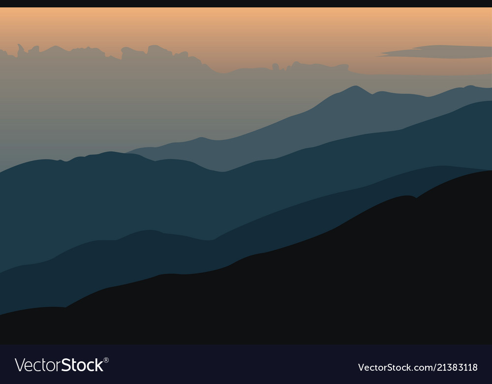 Sunset landscape with silhouettes of mountains