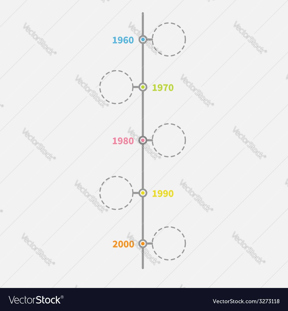 timeline vertical infographic with empty dash line