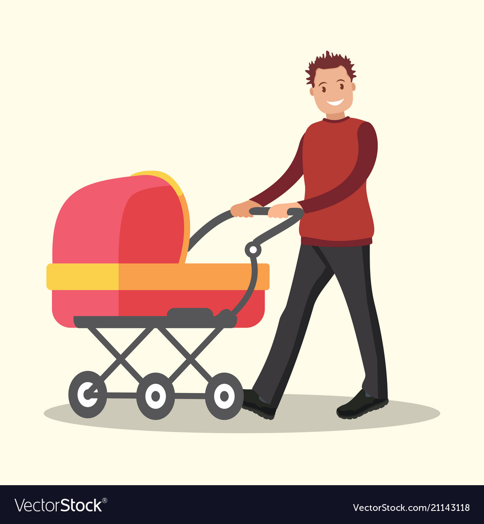 Young dad walking with a newborn that is in the