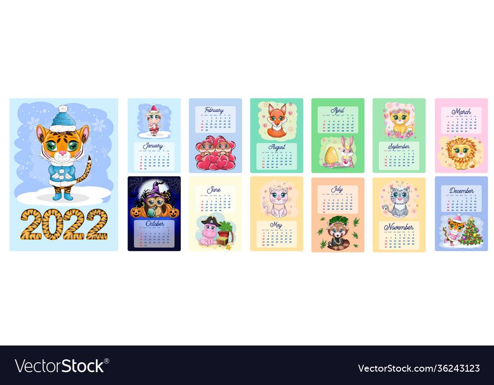 Cute 2022 Calendar.Calendar 2022 With Cute Cardboard Animals For Vector Image