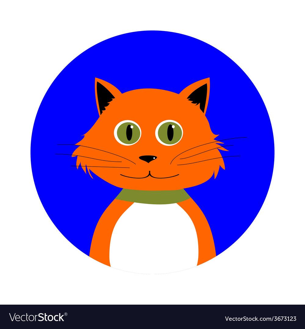 Cartoon Red Cat in Circle