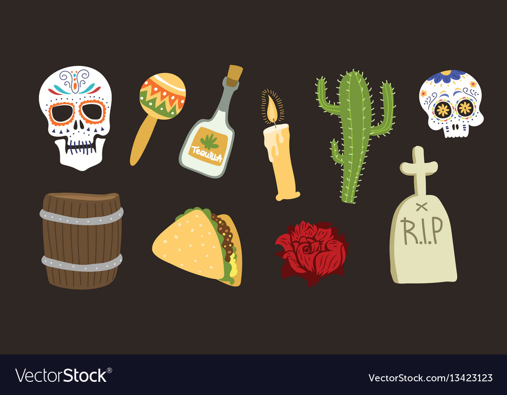 Colorful symbols for dia de los muertos day of the