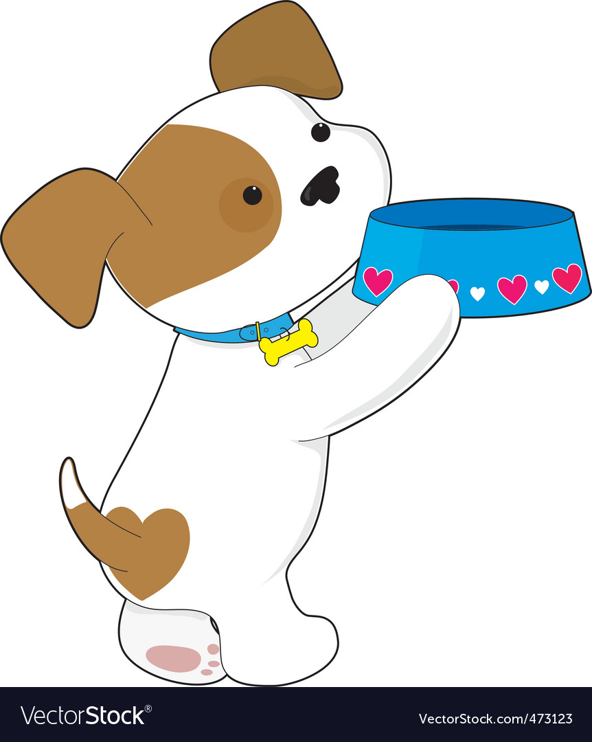 Cute puppy asking for food vector image