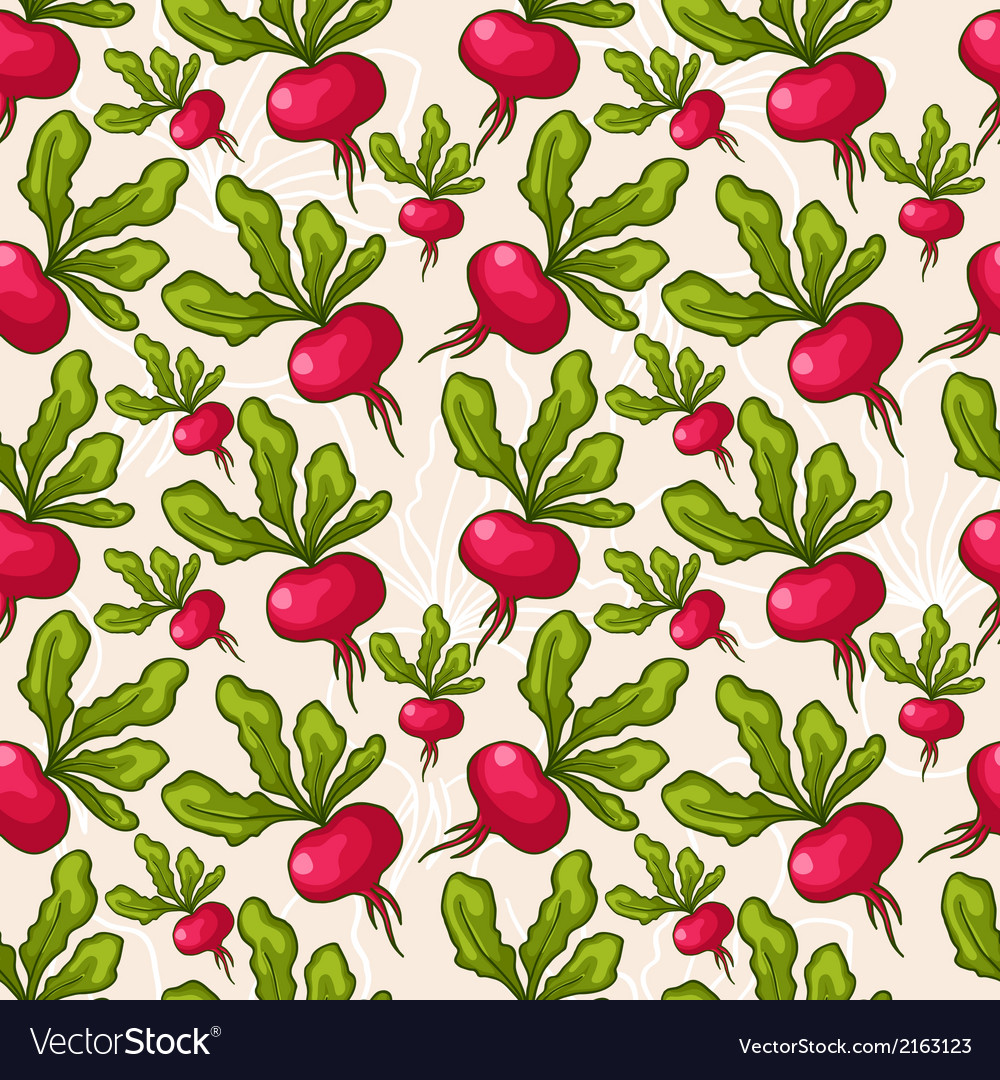 Cute seamless hand drawn radish background