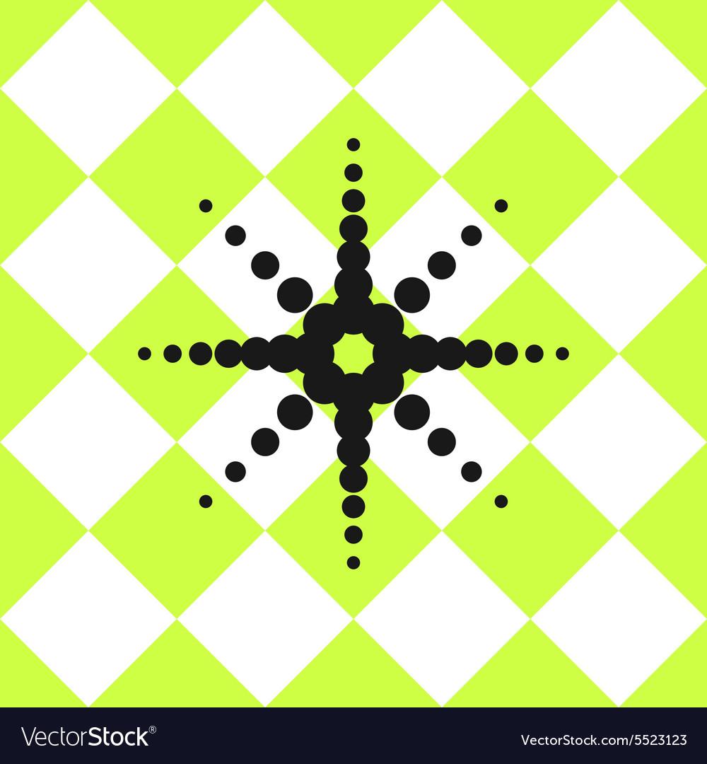 Floor ceramic tiles pattern green with black star