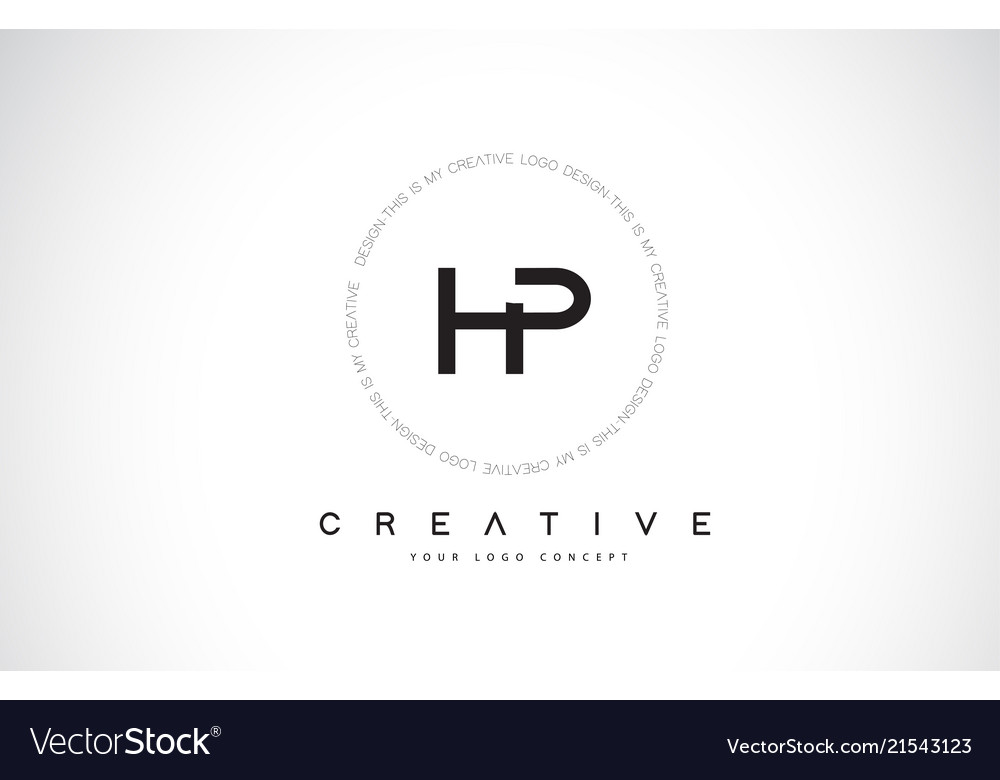 Hp h p logo design with black and white creative