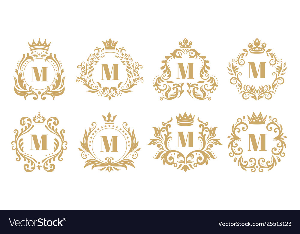 Luxury monogram vintage crown logo golden