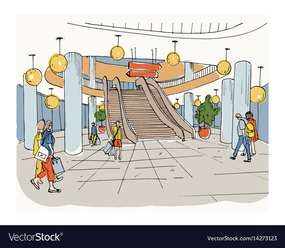 Modern interior shopping center mall colorful Vector Image