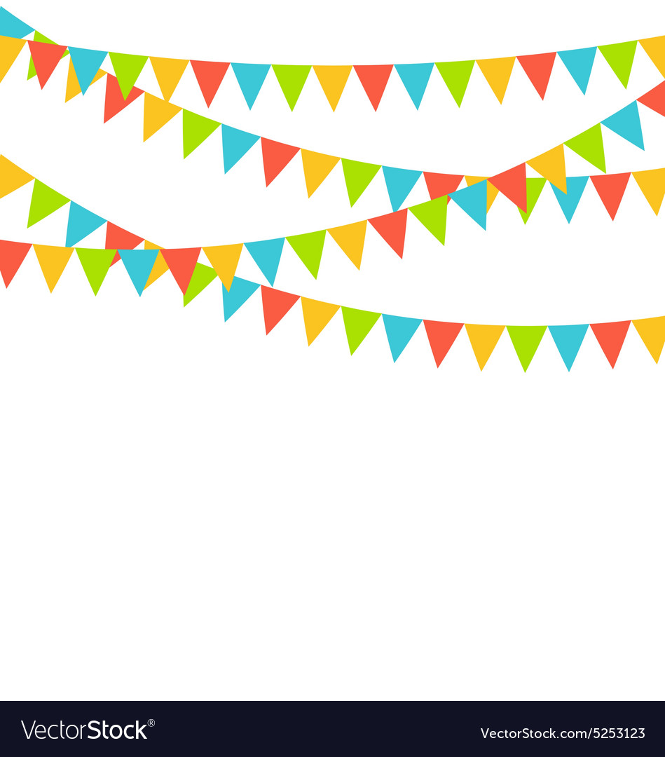 Multicolored bright buntings flags garlands