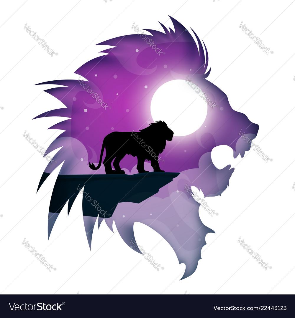 Paper lion cartoon night landscape