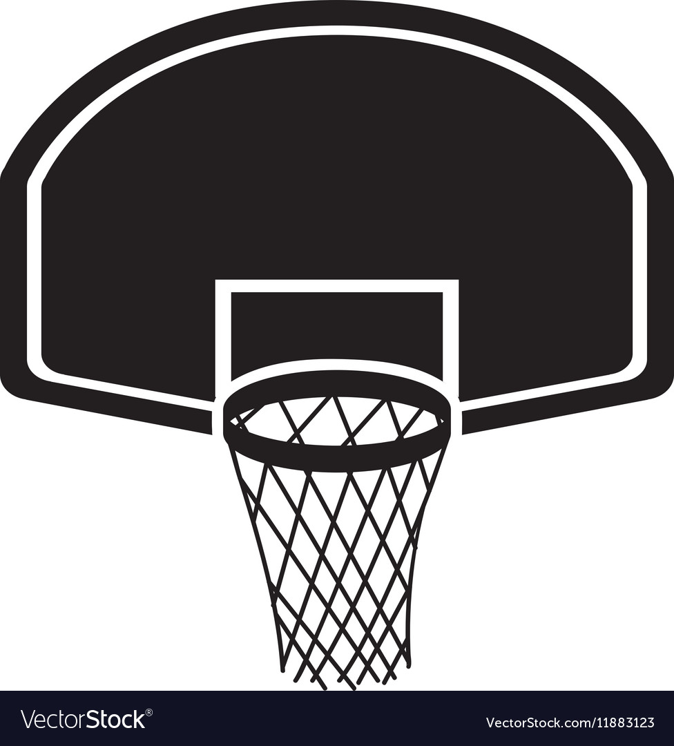 Silhouette monochrome with rounded basketball hoop