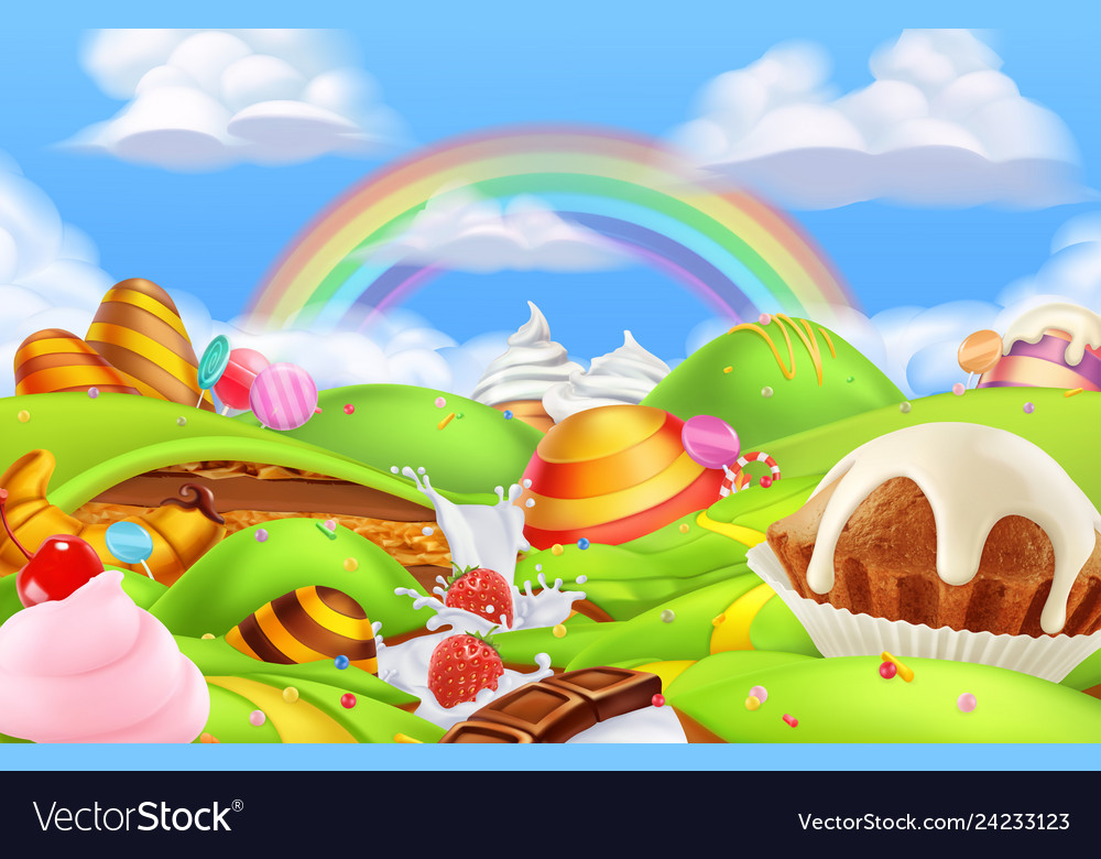 Sweet Candy Land Cartoon Game Background 3d