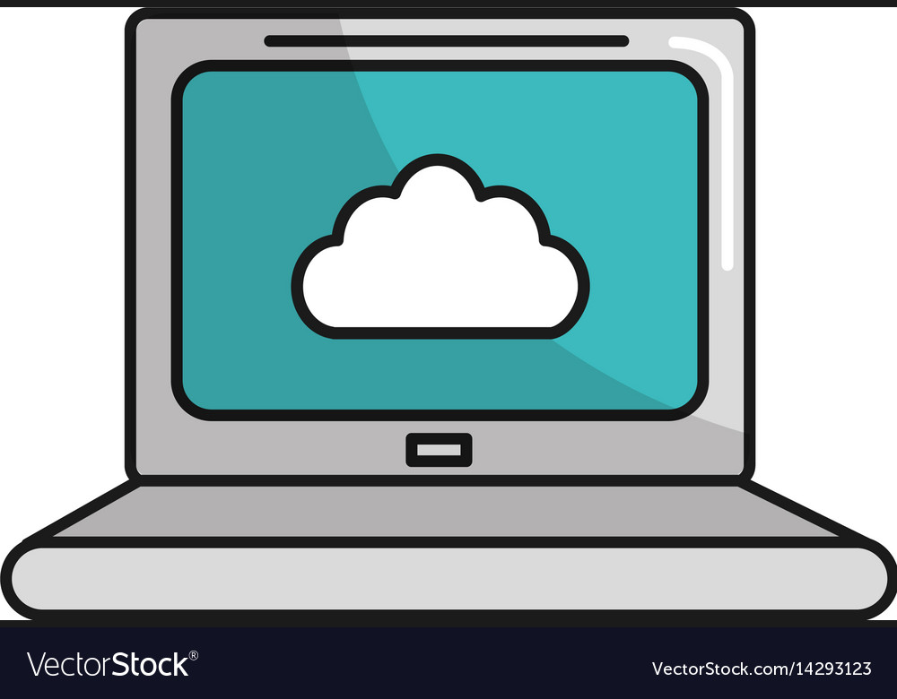 Technology laptop information service data vector image