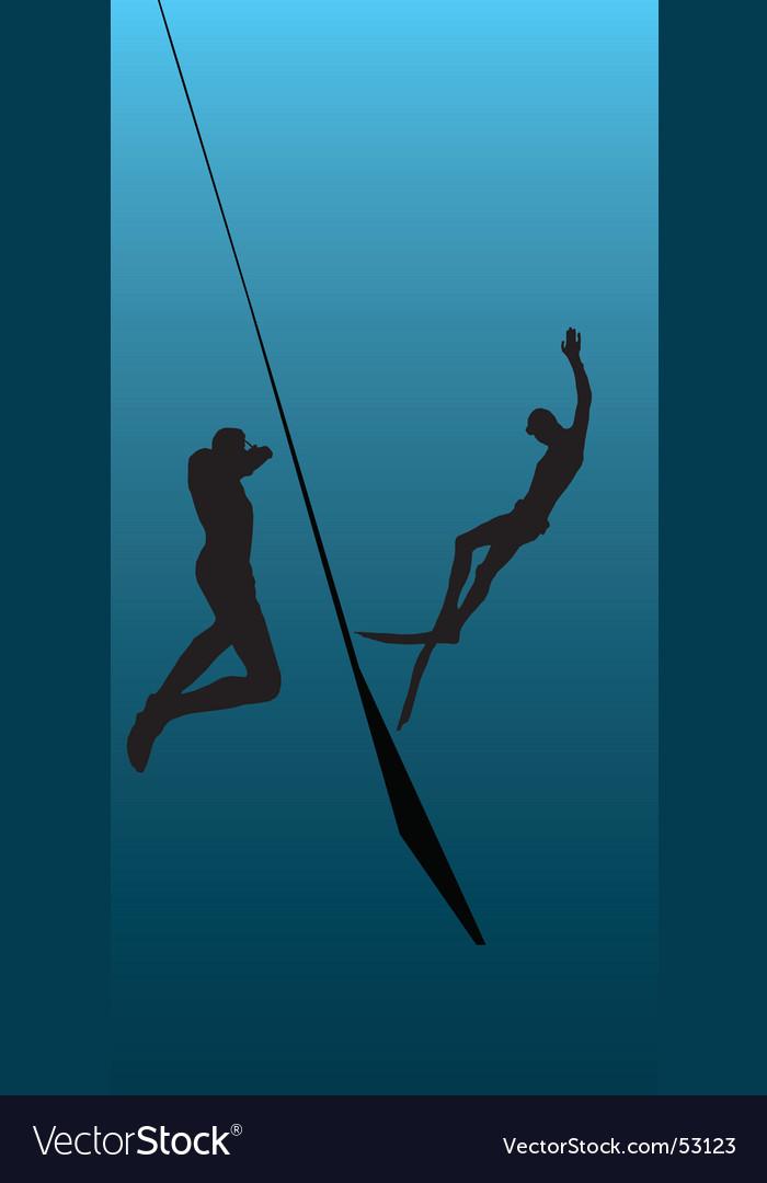 Underwater diving illustration vector image