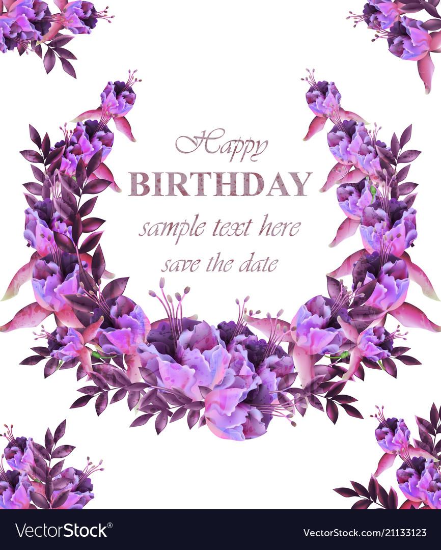 Vintage floral garland card birthday or wedding