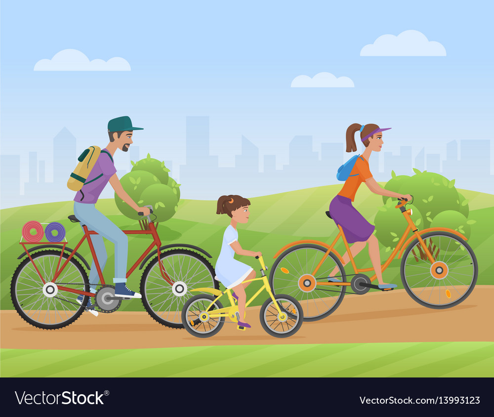 Young family with girl kid riding a bikes on the