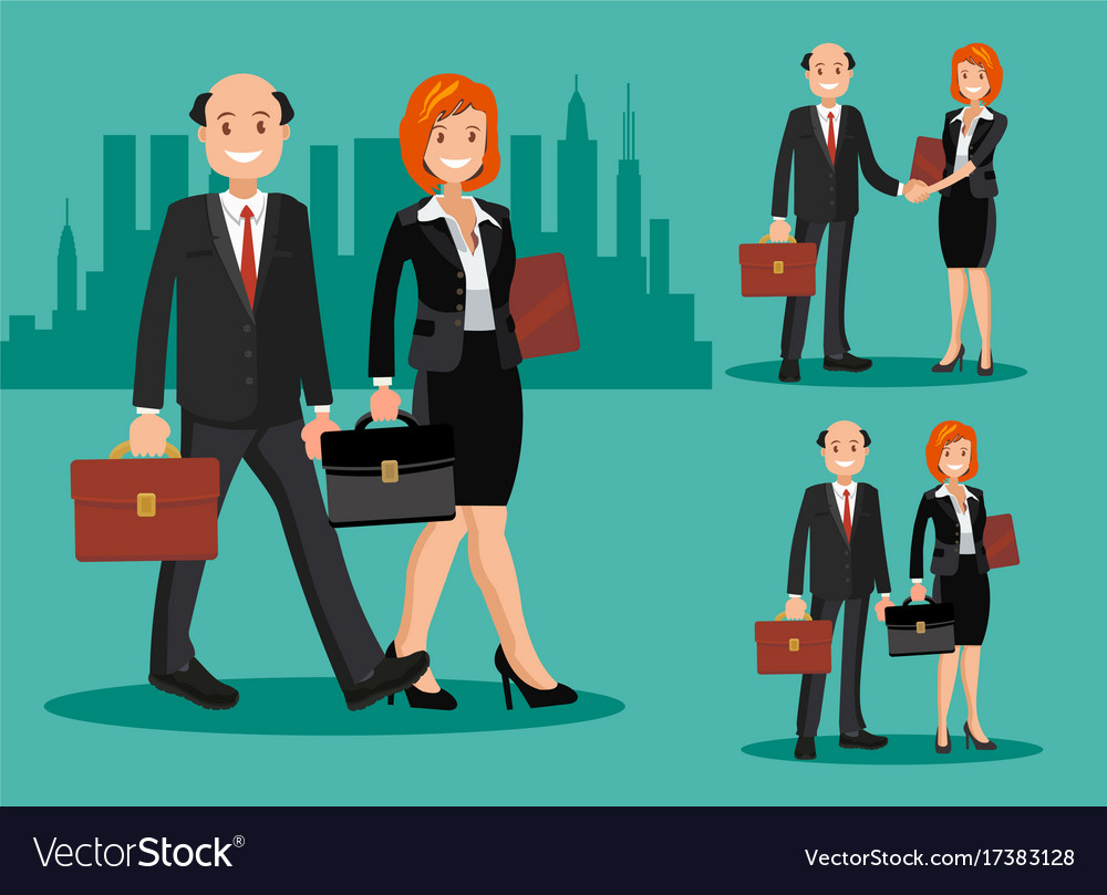 A set of business couple symbols of a man and a