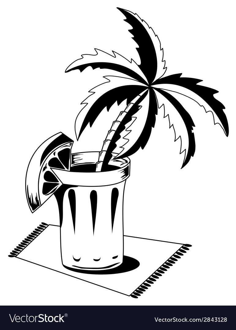 Black and white glass with palm