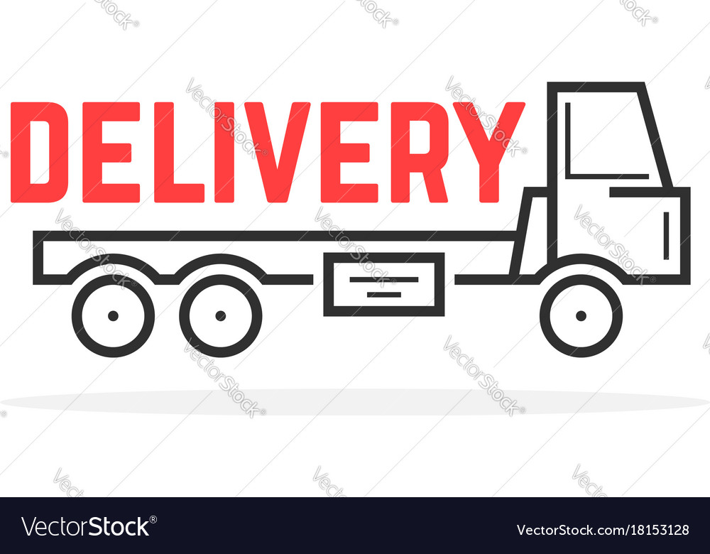 Black thin line delivery truck