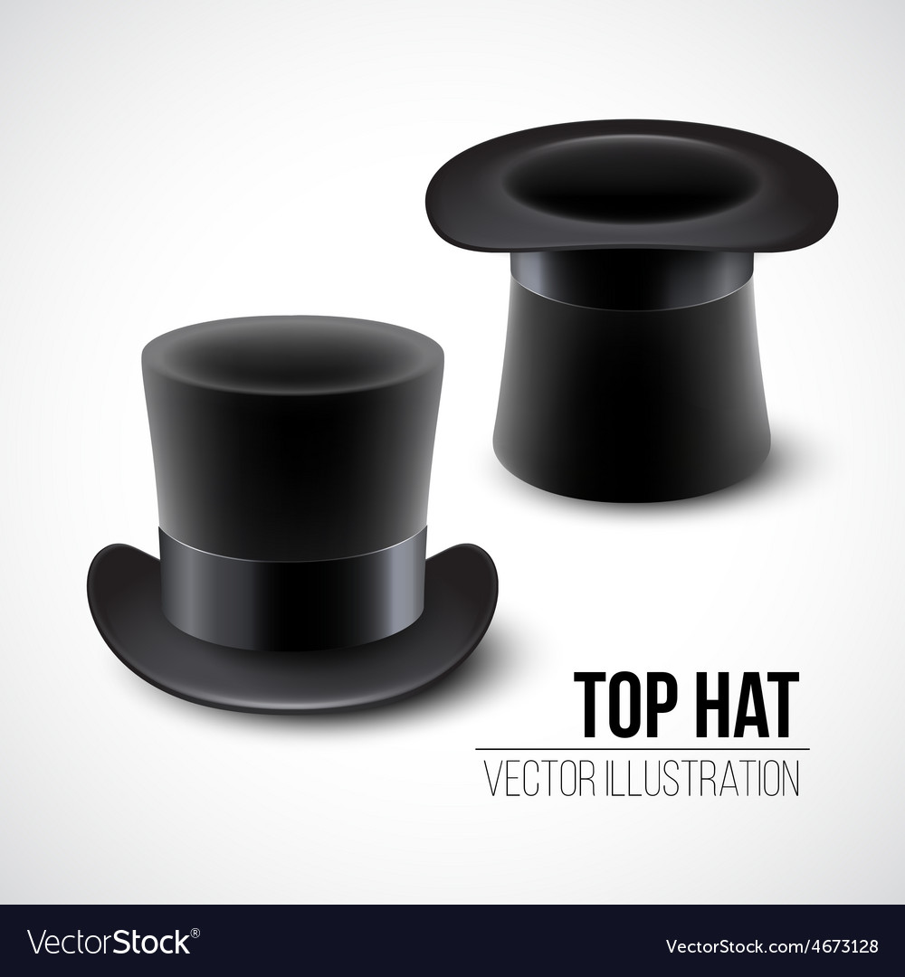 Black top hat isolated on