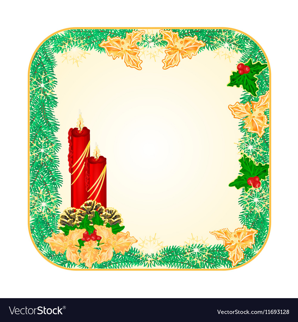 Button square Christmas Spruce with red candle vector image