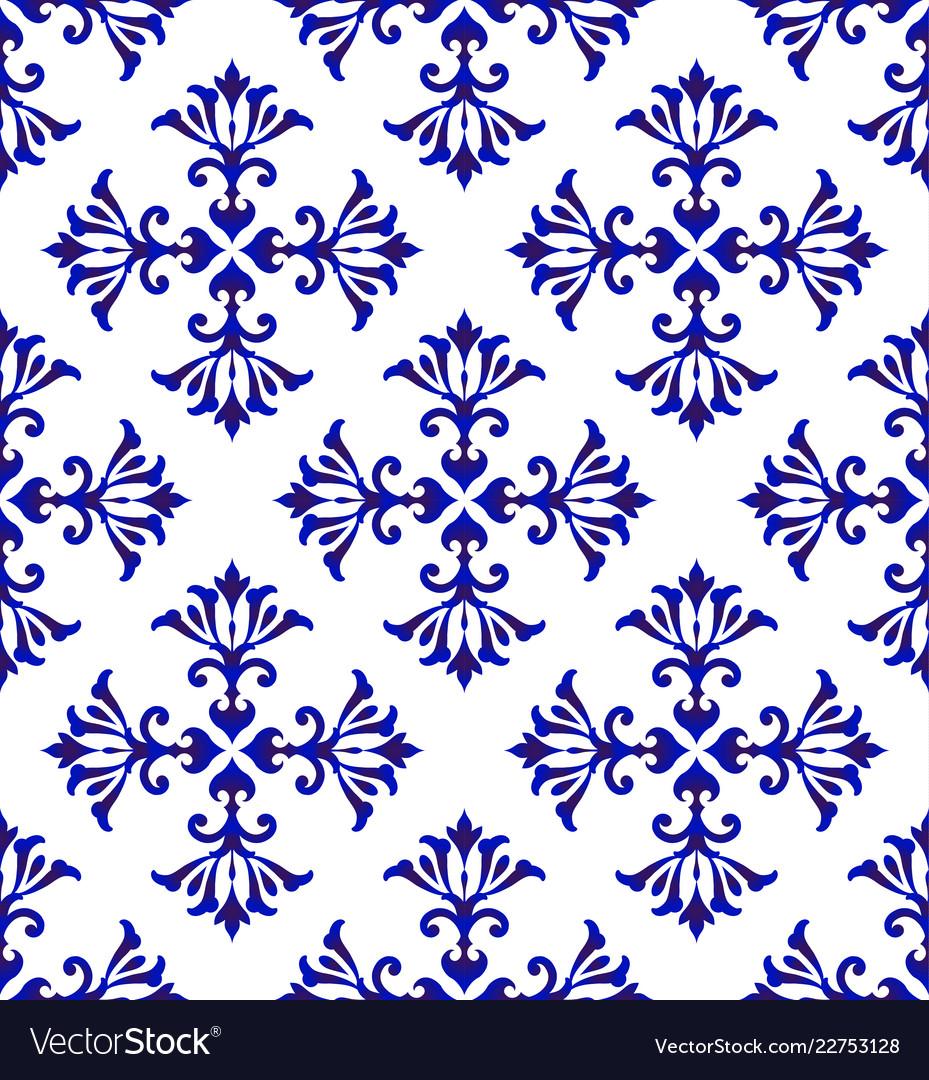 Ceramic floral blue pattern