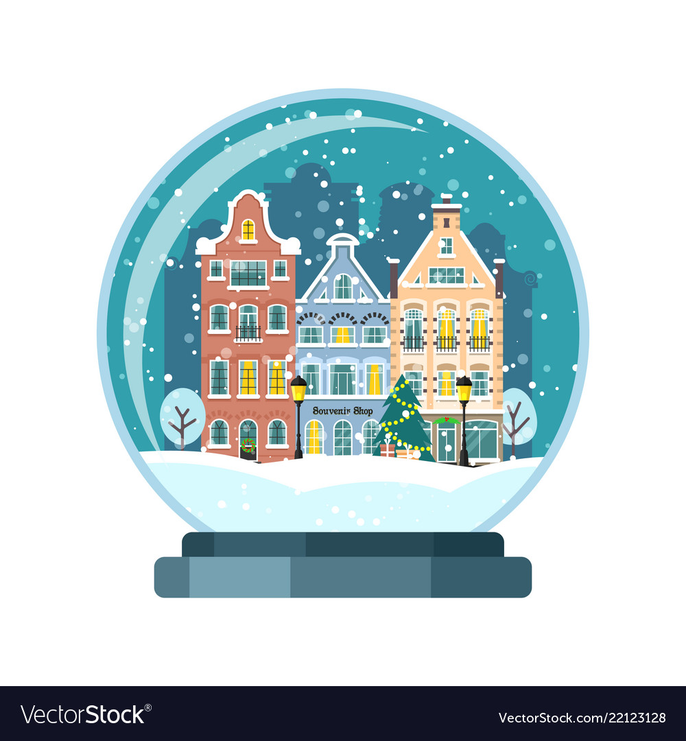 Christmas snow globe with amsterdam houses