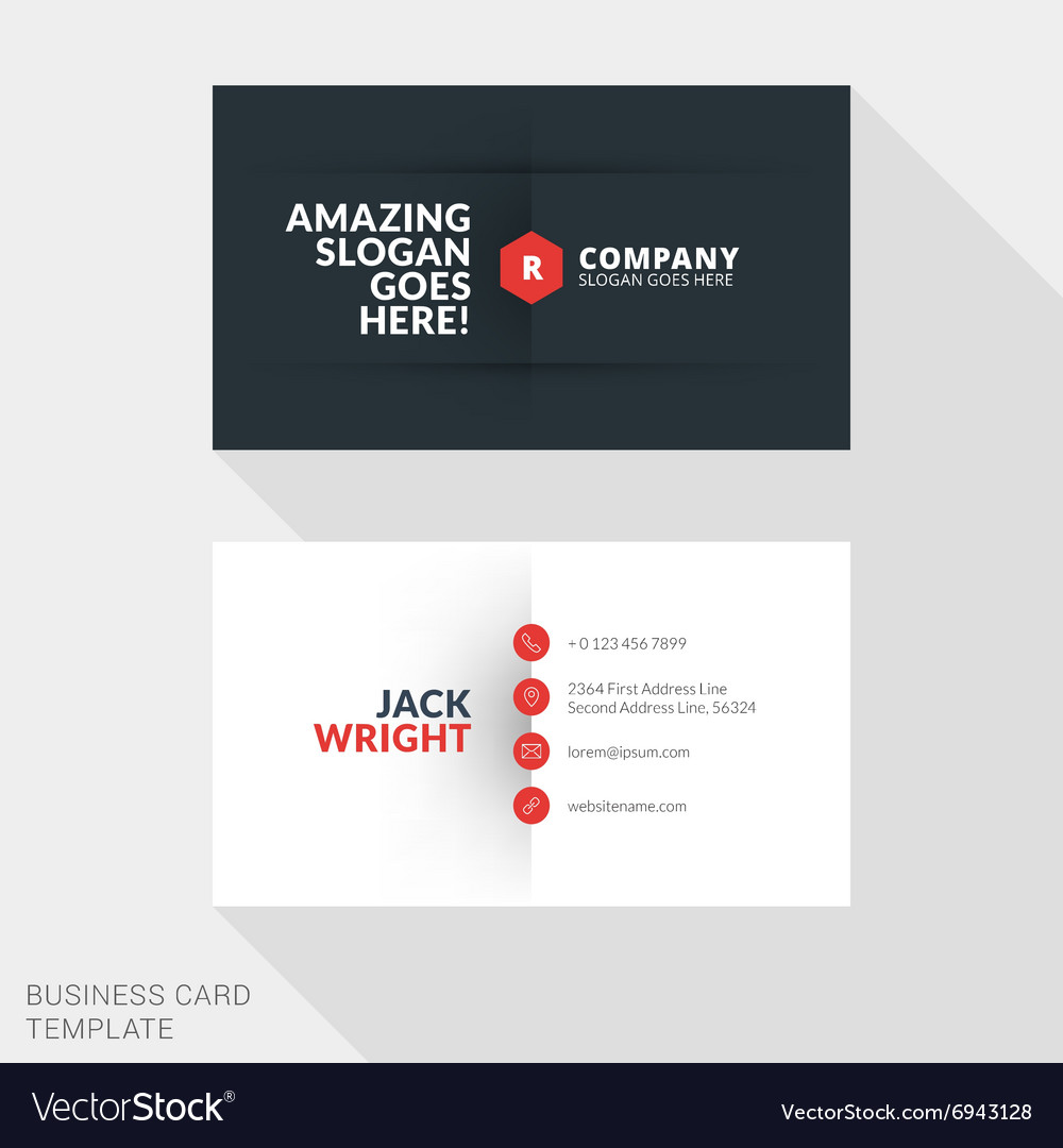 Creative Business Card Print Template Flat Design Vector Image