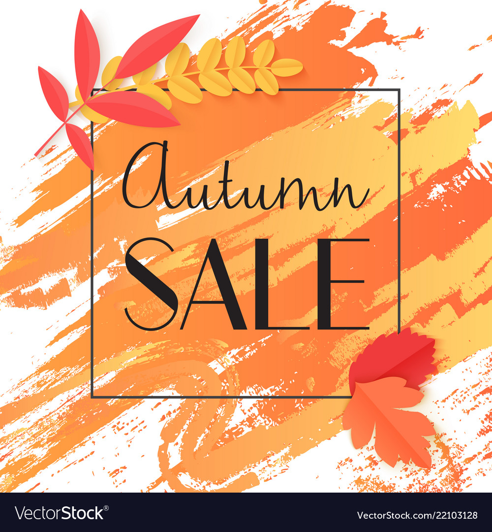 Fall autumn sale banner with paint and leaves in