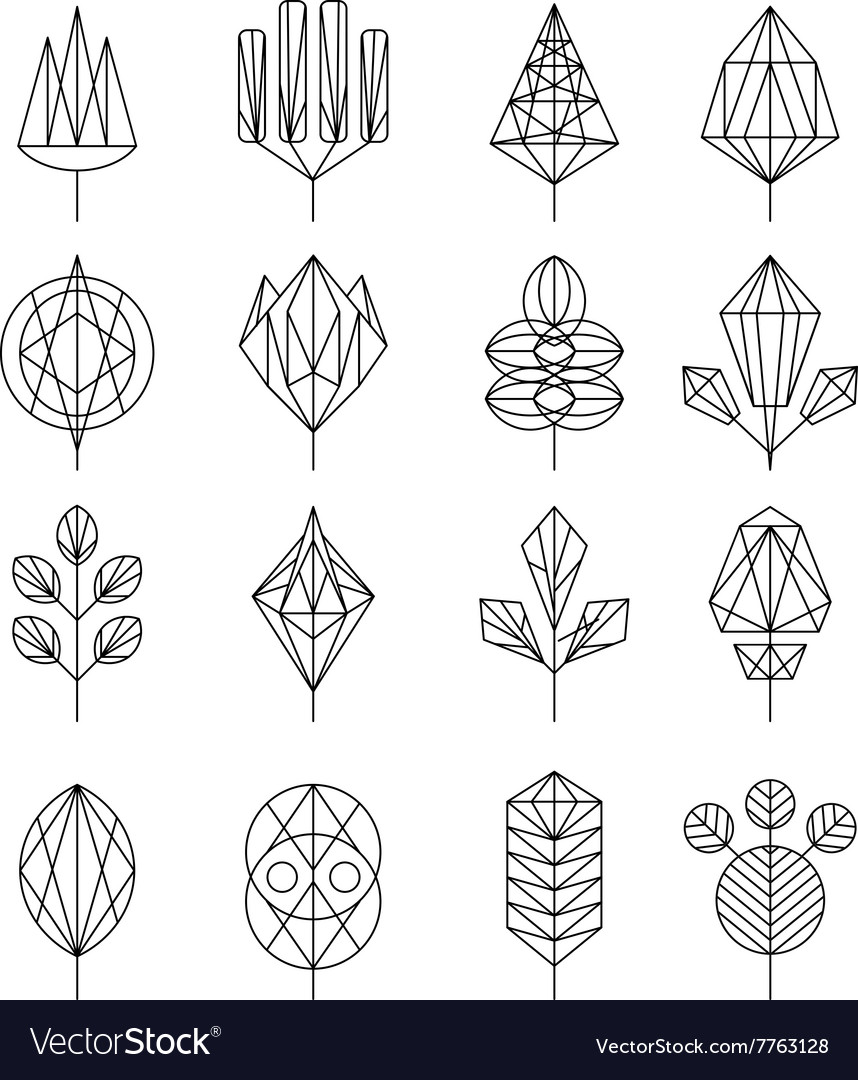 Flower and Tree Abstract Icons