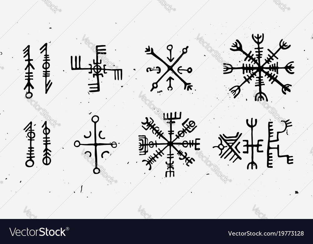 Futhark Norse Islandic And Viking Runes Set Magic Vector Image