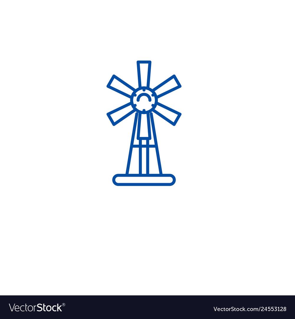 Garden windmill line icon concept garden windmill