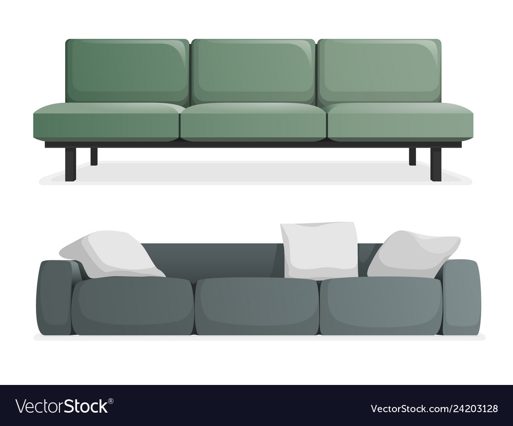 Gray and green modern sofa