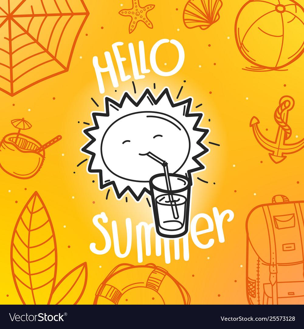 Hello summer concept cute sun hand drawn summer