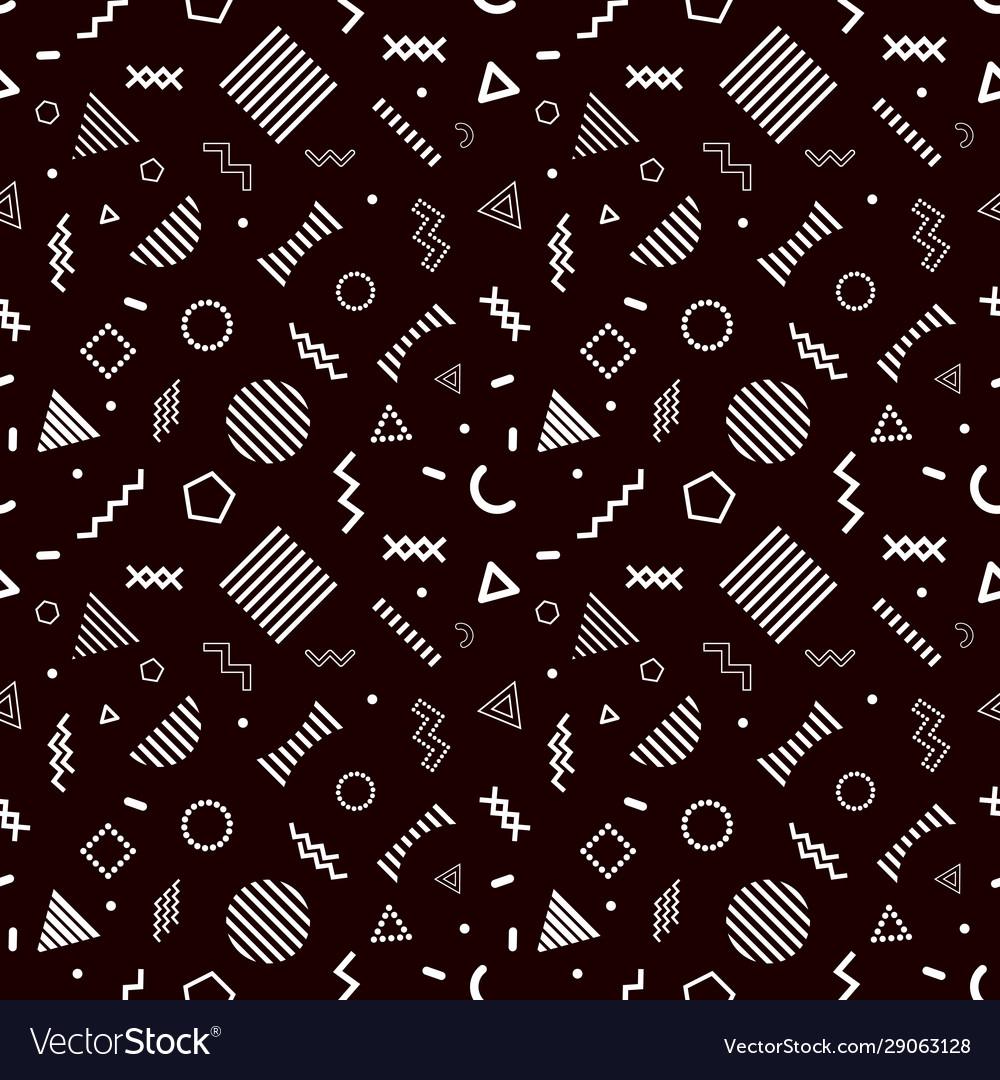 Memphis style seamless pattern on black