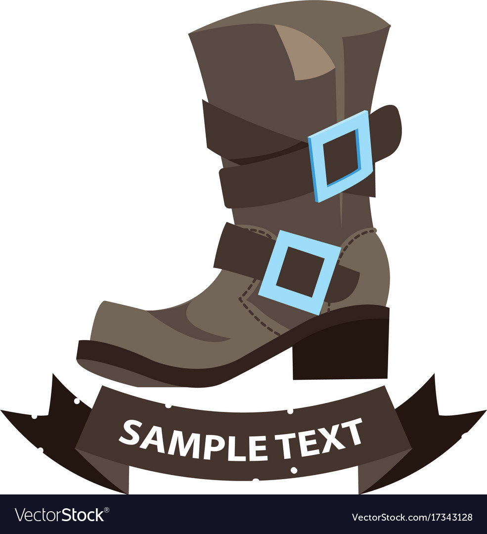 Old mens boots with ribbon banner cartoon drawing vector image