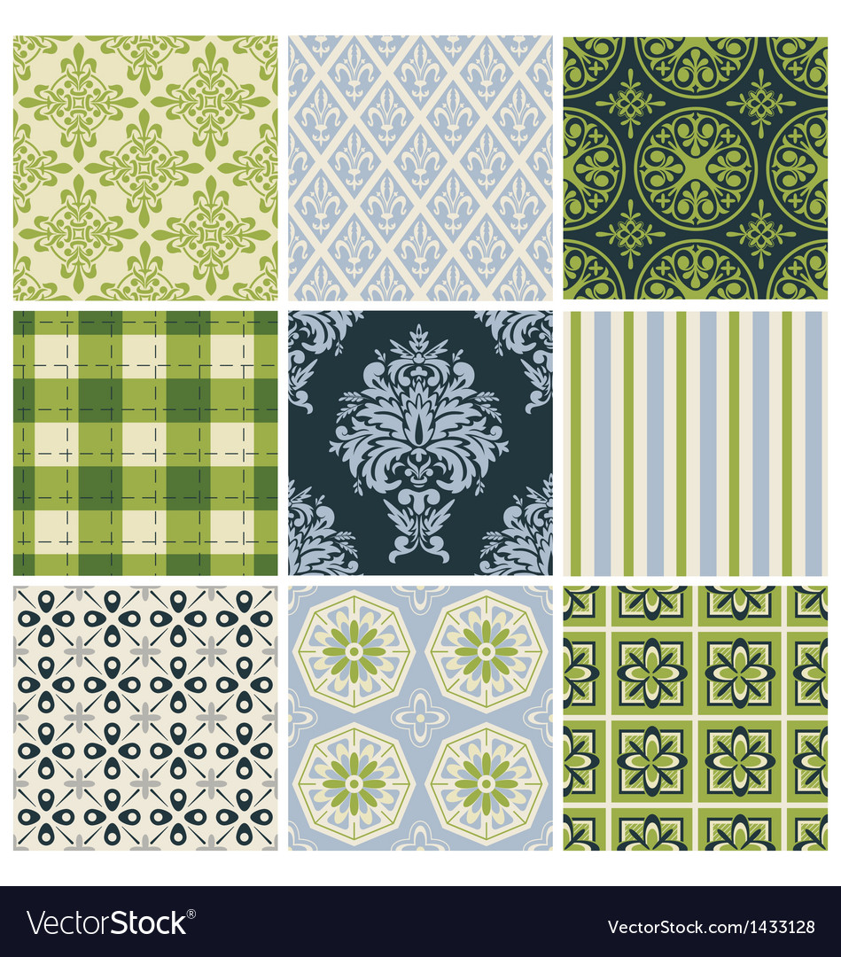 Set of nine colorful seamless patterns