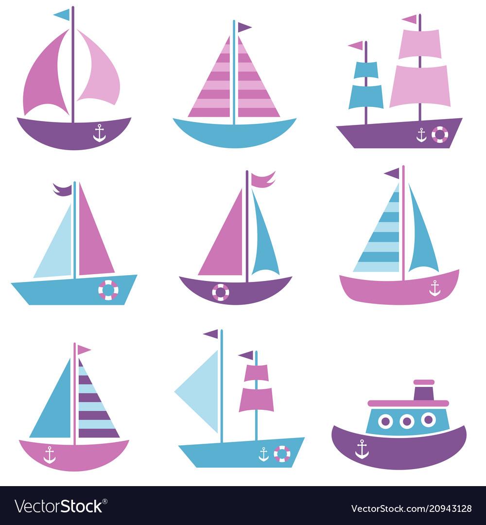 Set of sea transport icons
