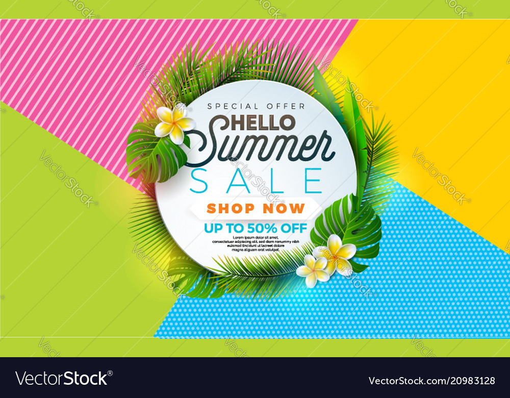 Summer sale with flower and tropical