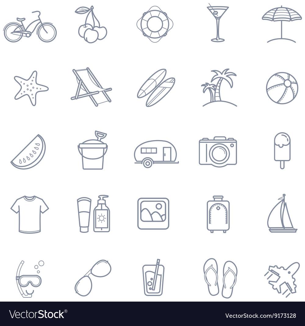 Summer thin line icons set