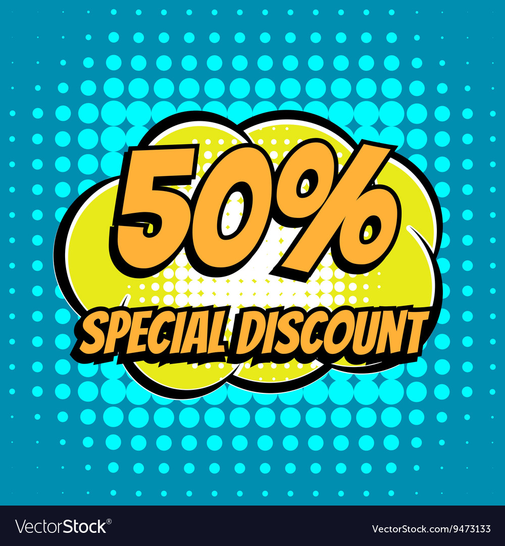 50 percent special discount comic book bubble text